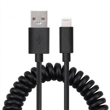 Gekrulde Lightning kabel 1,2 meter zwart