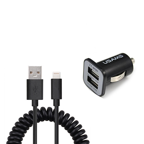 Duo USB autolader en gekrulde Lightning kabel 1 meter
