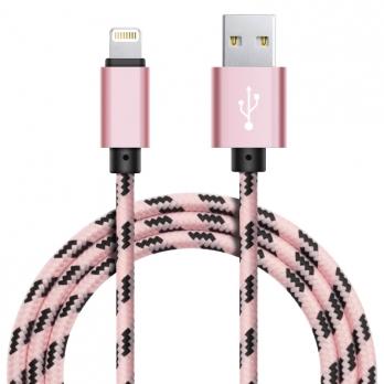 Xinnier nylon Lightning kabel 3 meter roségoud