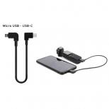 Micro USB naar USB-C data kabel haaks 30 cm