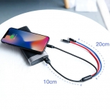 Baseus Lightning, micro USB en USB-C kabel 30 centimeter