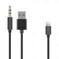 Lightning naar USB en 3,5 mm jack aux audio kabel 50 cm