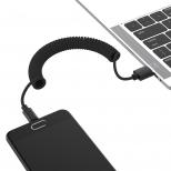 Nylon gekrulde USB-C kabel 1,3 meter zwart