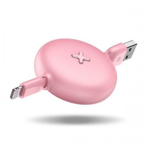 Lightning naar USB kabel oprolbaar roze