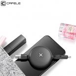 Lightning & micro USB kabel oprolbaar zwart