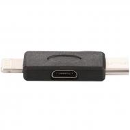 Micro USB naar USB-C en Lightning adapter