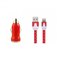 USB autolader en gekleurde Lightning kabel 1 meter